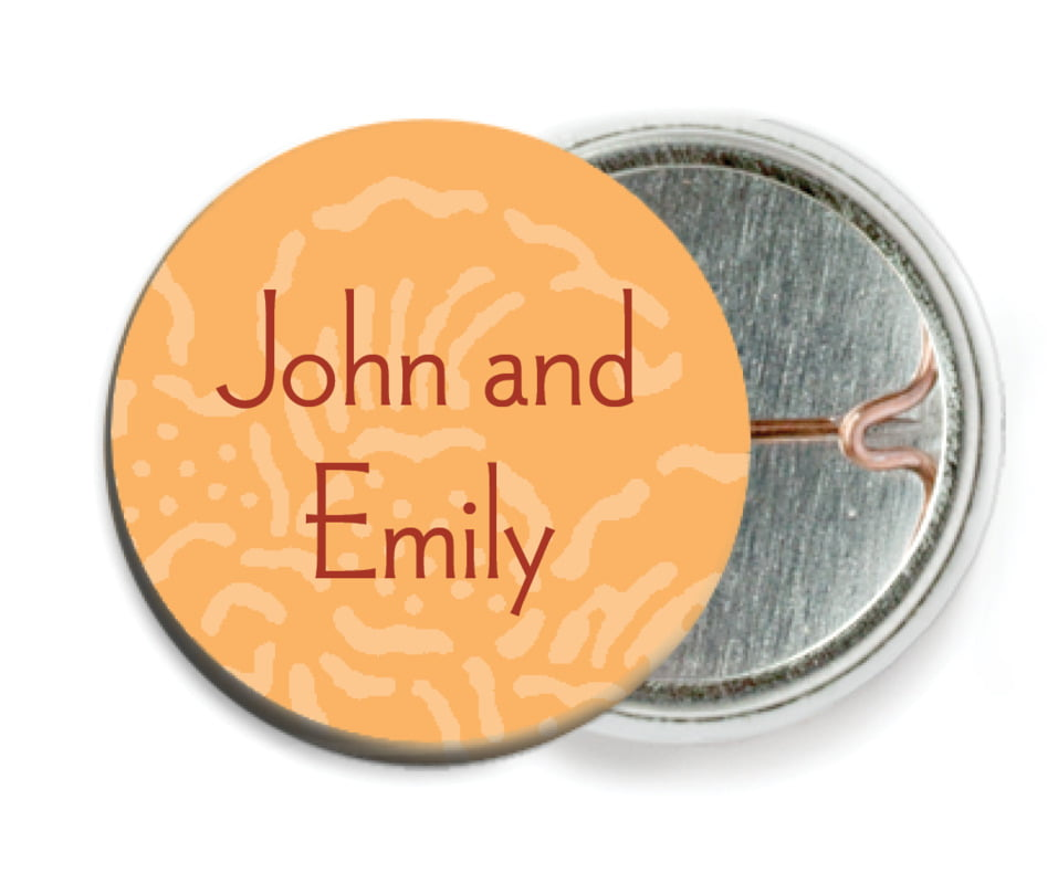 custom pin back buttons - tangerine - persimmon flower (set of 6)