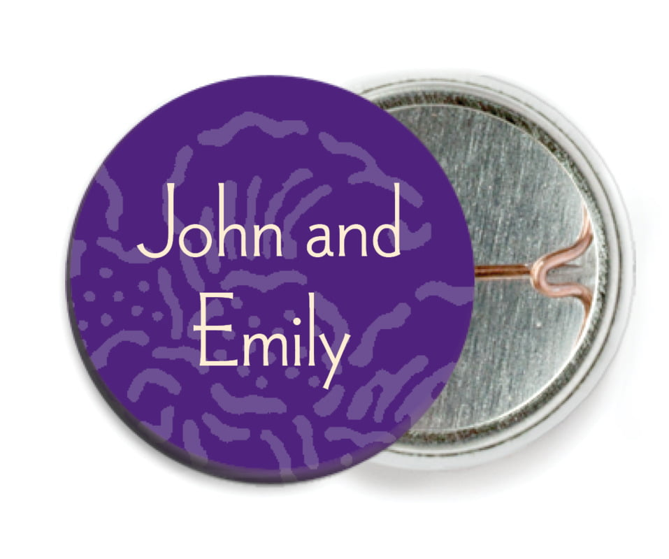custom pin back buttons - purple - persimmon flower (set of 6)