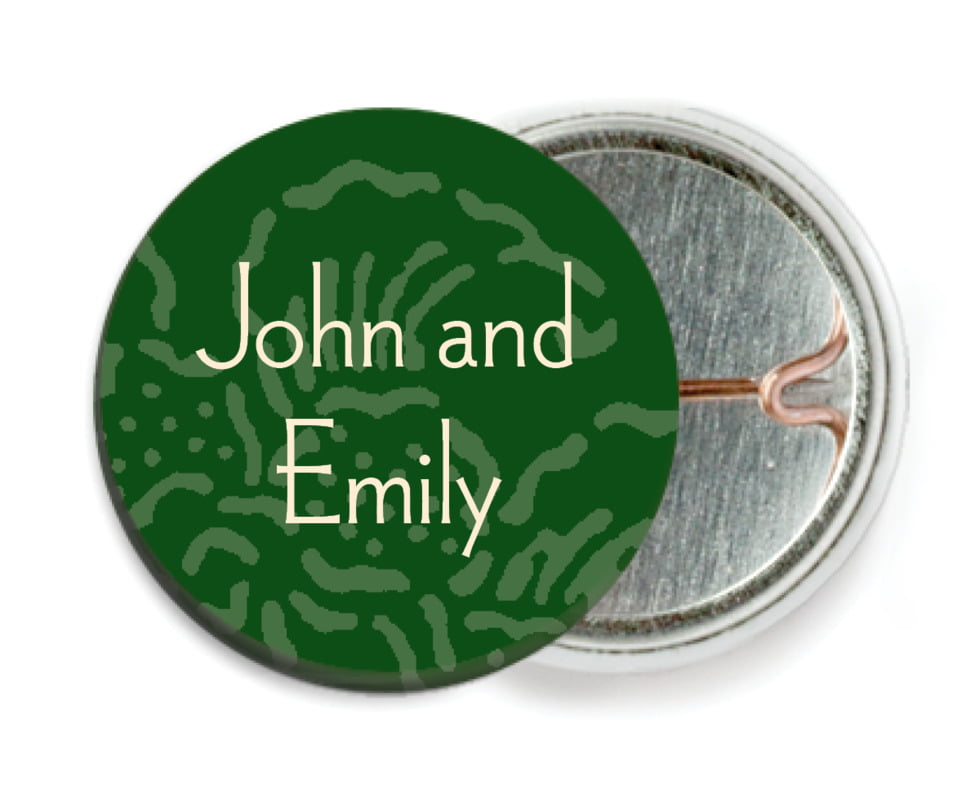 custom pin back buttons - deep green - persimmon flower (set of 6)