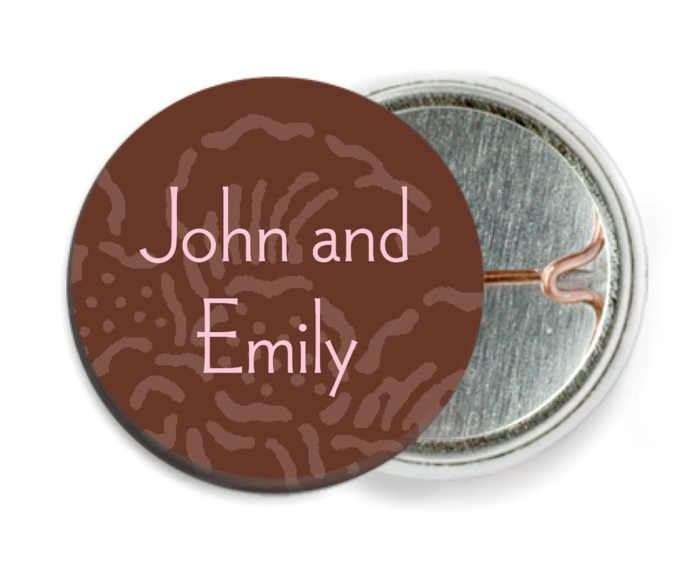 custom pin back buttons - cocoa & pink - persimmon flower (set of 6)
