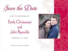 custom save-the-date cards - deep red - persimmon flower (set of 10)