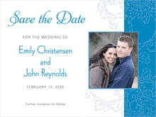 custom save-the-date cards - blue - persimmon flower (set of 10)