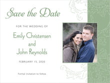 custom save-the-date cards - sage - persimmon flower (set of 10)