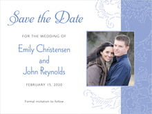 custom save-the-date cards - periwinkle - persimmon flower (set of 10)