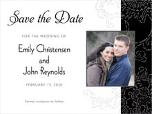 custom save-the-date cards - tuxedo - persimmon flower (set of 10)