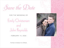 custom save-the-date cards - pale pink - persimmon flower (set of 10)
