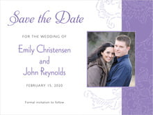 custom save-the-date cards - lilac - persimmon flower (set of 10)