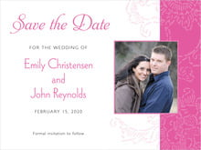 custom save-the-date cards - bright pink - persimmon flower (set of 10)