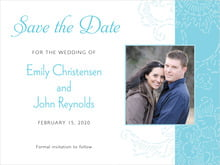 custom save-the-date cards - bahama blue - persimmon flower (set of 10)
