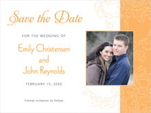 custom save-the-date cards - tangerine - persimmon flower (set of 10)
