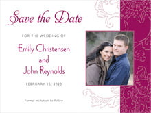 custom save-the-date cards - burgundy - persimmon flower (set of 10)
