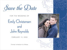 custom save-the-date cards - deep blue - persimmon flower (set of 10)