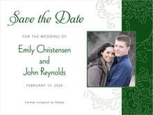 custom save-the-date cards - deep green - persimmon flower (set of 10)