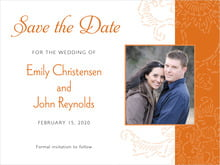 custom save-the-date cards - spice - persimmon flower (set of 10)