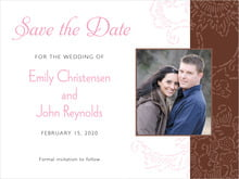 custom save-the-date cards - cocoa & pink - persimmon flower (set of 10)