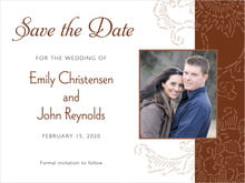 custom save-the-date cards - chocolate - persimmon flower (set of 10)