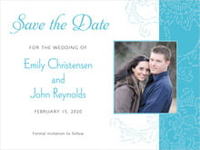 custom save-the-date cards - sky - persimmon flower (set of 10)