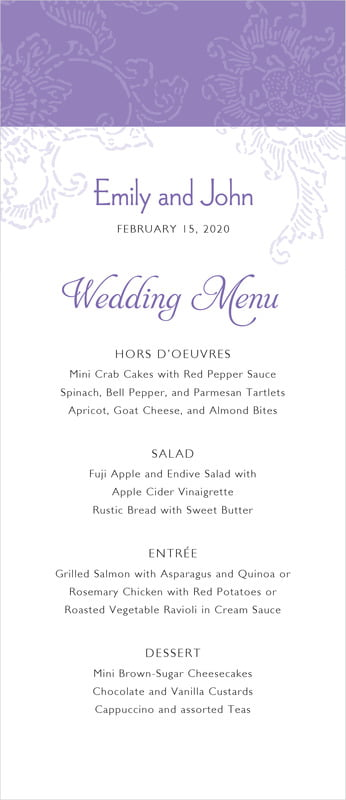custom menus - lilac - persimmon flower (set of 10)