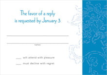 custom response cards - blue - persimmon flower (set of 10)