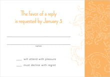 custom response cards - tangerine - persimmon flower (set of 10)