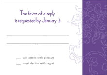 custom response cards - purple - persimmon flower (set of 10)