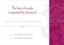 custom response cards - burgundy - persimmon flower (set of 10)