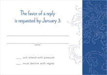 custom response cards - deep blue - persimmon flower (set of 10)
