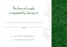 custom response cards - deep green - persimmon flower (set of 10)
