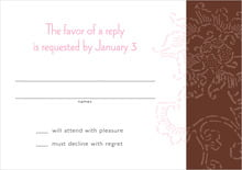 custom response cards - cocoa & pink - persimmon flower (set of 10)