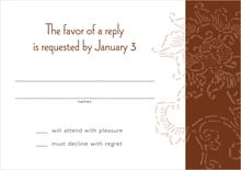 custom response cards - chocolate - persimmon flower (set of 10)