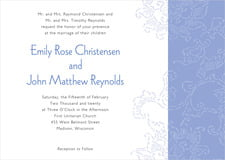 custom invitations - periwinkle - persimmon flower (set of 10)