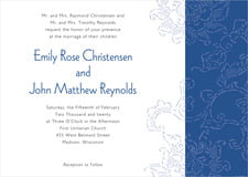 custom invitations - deep blue - persimmon flower (set of 10)