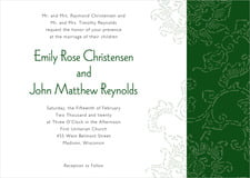 custom invitations - deep green - persimmon flower (set of 10)