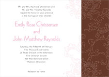 custom invitations - cocoa & pink - persimmon flower (set of 10)