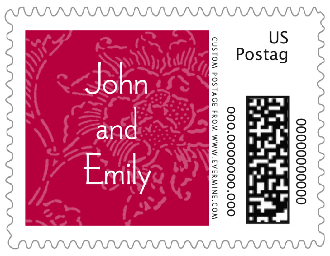 small custom postage stamps - deep red - persimmon flower (set of 20)