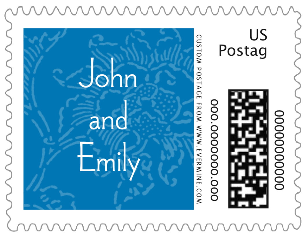 small custom postage stamps - blue - persimmon flower (set of 20)