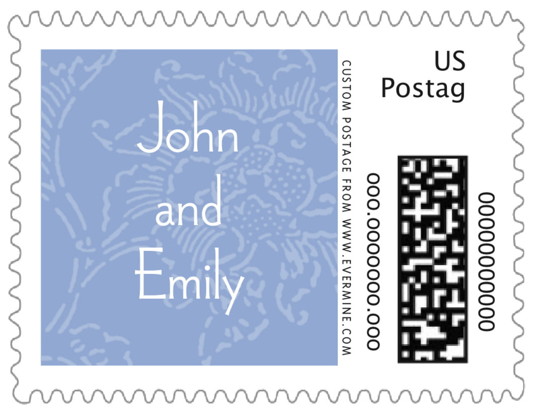 small custom postage stamps - periwinkle - persimmon flower (set of 20)