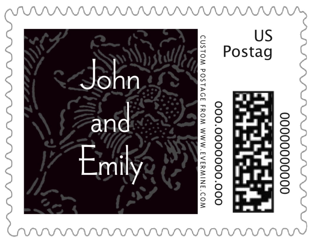 small custom postage stamps - tuxedo - persimmon flower (set of 20)