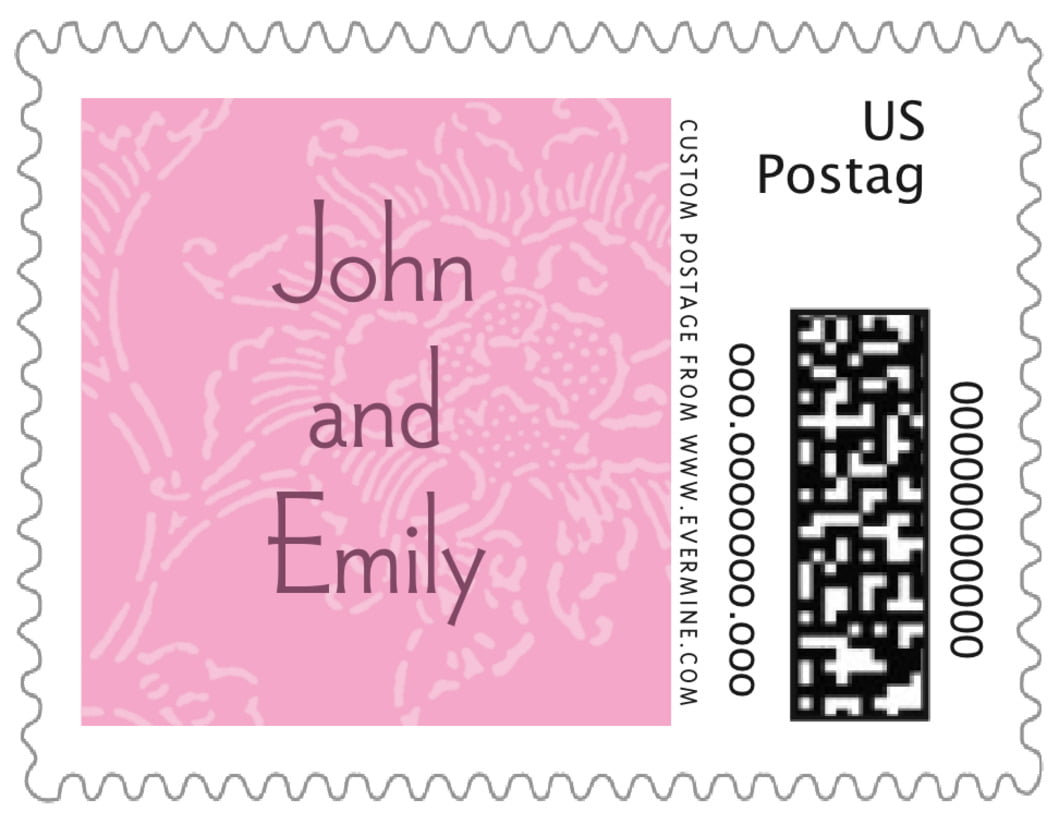 small custom postage stamps - pale pink - persimmon flower (set of 20)