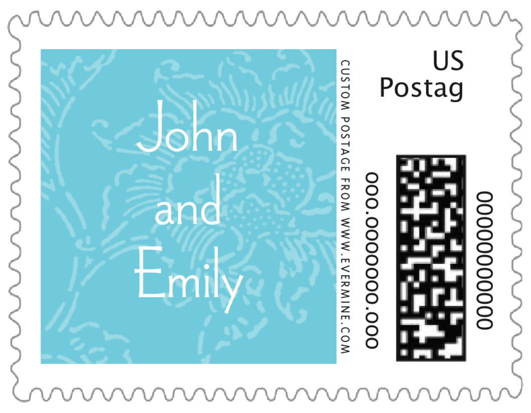 small custom postage stamps - bahama blue - persimmon flower (set of 20)