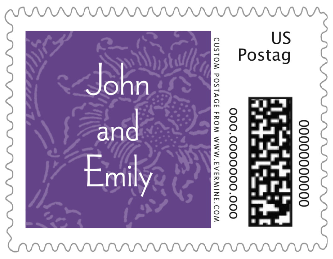 small custom postage stamps - purple - persimmon flower (set of 20)