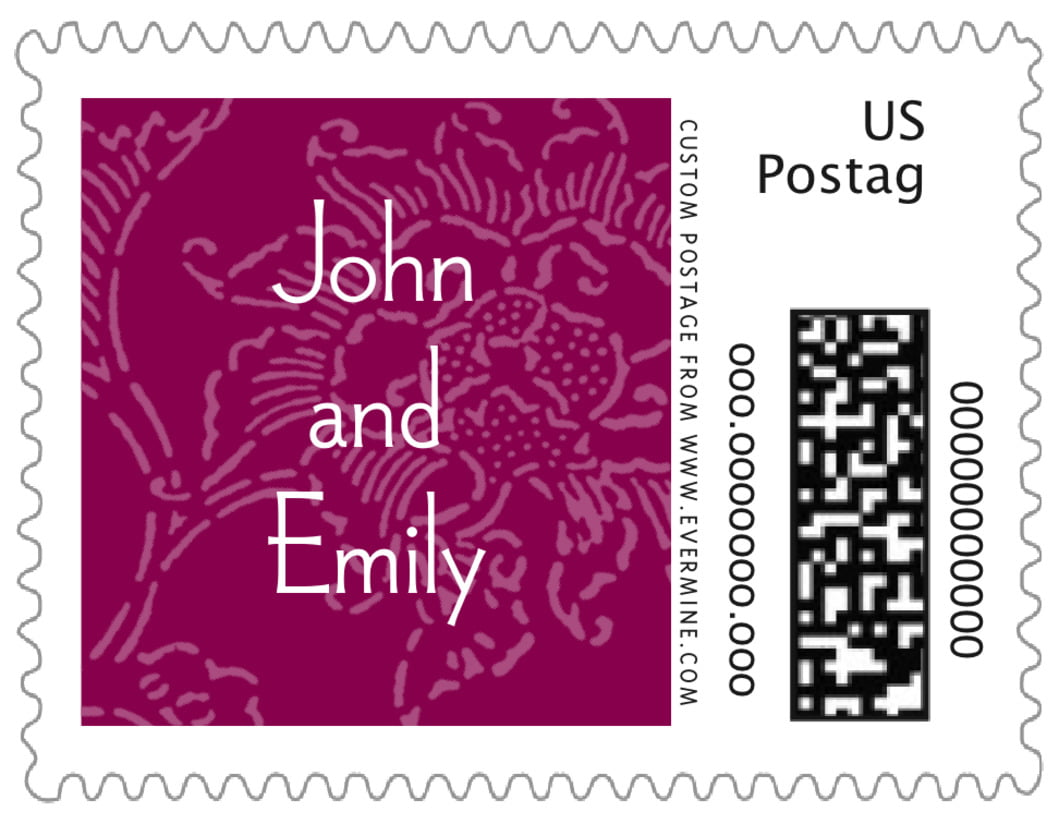 small custom postage stamps - burgundy - persimmon flower (set of 20)