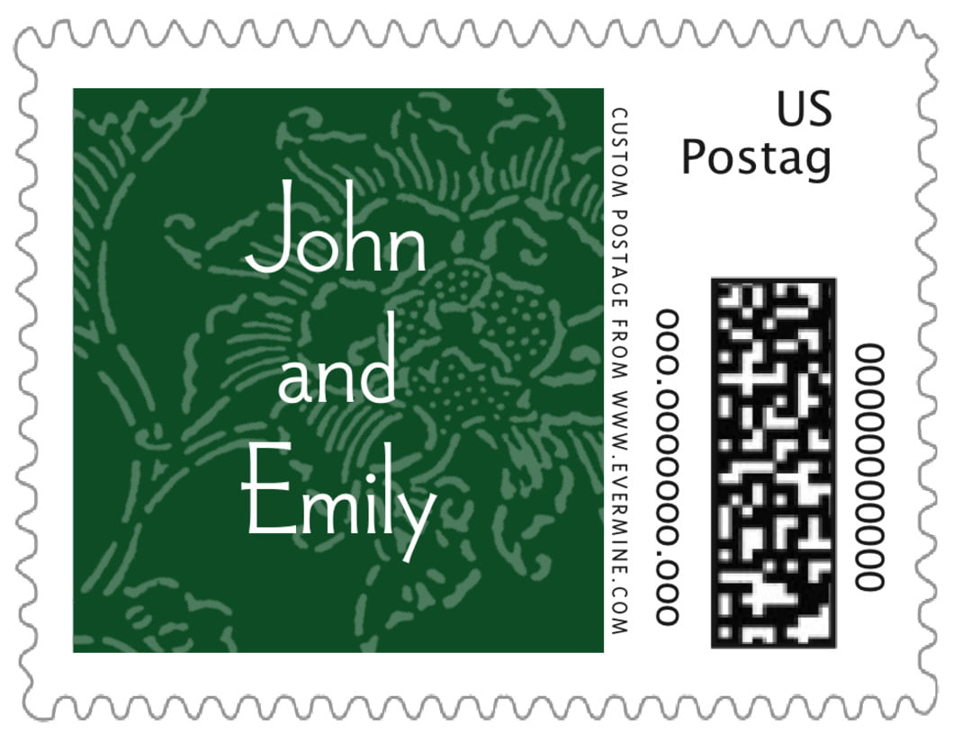 small custom postage stamps - deep green - persimmon flower (set of 20)
