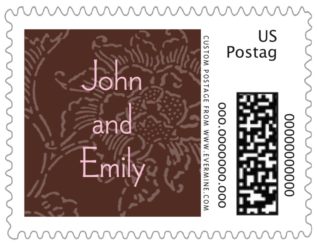 small custom postage stamps - cocoa & pink - persimmon flower (set of 20)