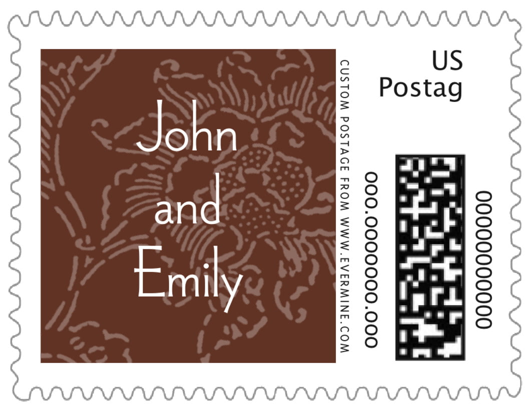 small custom postage stamps - chocolate - persimmon flower (set of 20)