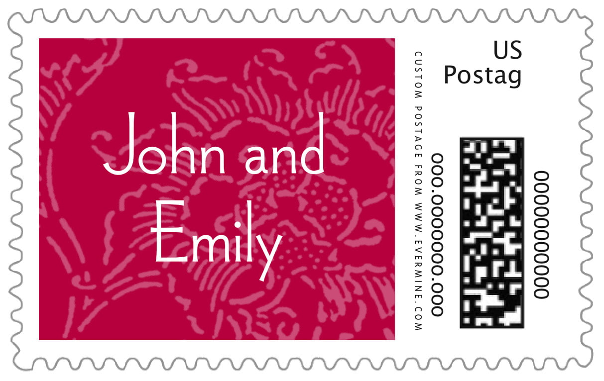 custom large postage stamps - deep red - persimmon flower (set of 20)