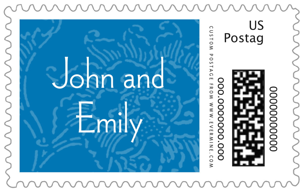 custom large postage stamps - blue - persimmon flower (set of 20)