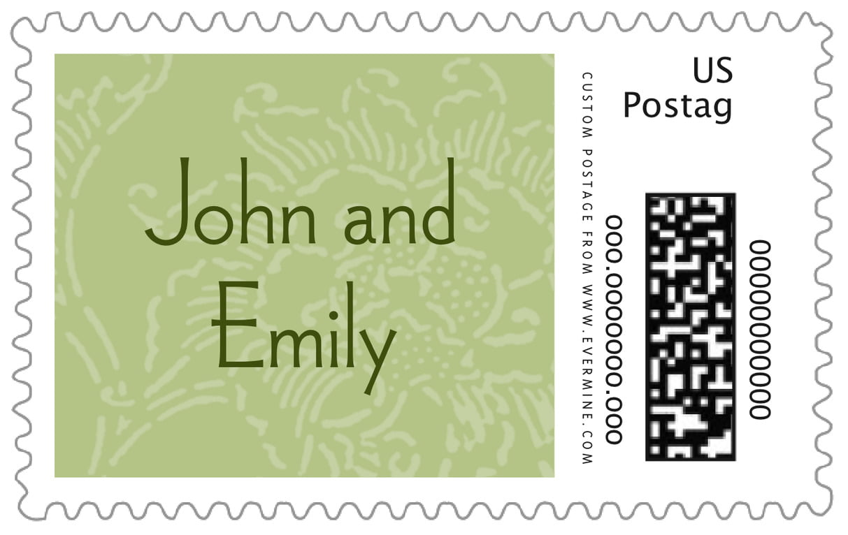 custom large postage stamps - green tea - persimmon flower (set of 20)
