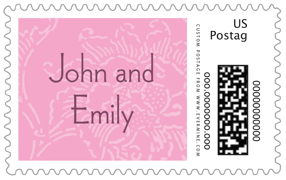 custom large postage stamps - pale pink - persimmon flower (set of 20)