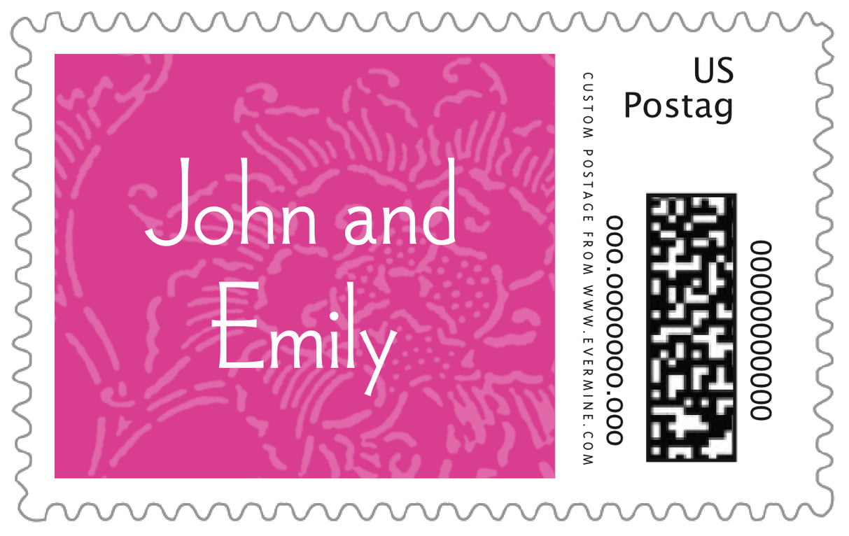 custom large postage stamps - bright pink - persimmon flower (set of 20)